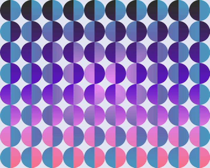 Op Art Big Circles By Half Blue Purple And Magenta