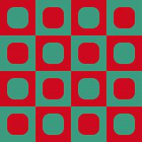 Op Art Checkerboard Of Rounded Frames Red And Greenish Gray