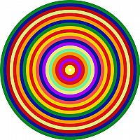 Op Art Homage to CT Multicolor Concentric Circles One