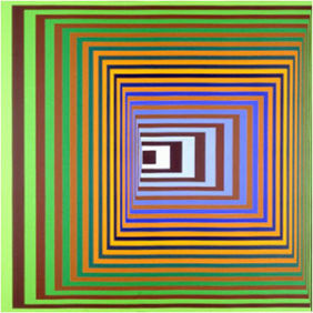 Vonal-Stri - Victor Vasarely 1975 Acrylic on canvas 200x200cm 