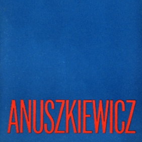 A section of the cover to Anuszkiewicz's solo show at the Contemporaries Gallery